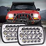 Yorkim 5x7 LED Headlights H6054 Headlight 7x6 inch Sealed Beam Square Headlamp with High Low Beam Dot Lights for Jeep Wrangler YJ Cherokee XJ 6054 H5054 H6054LL 6052 6053, Pack of 2
