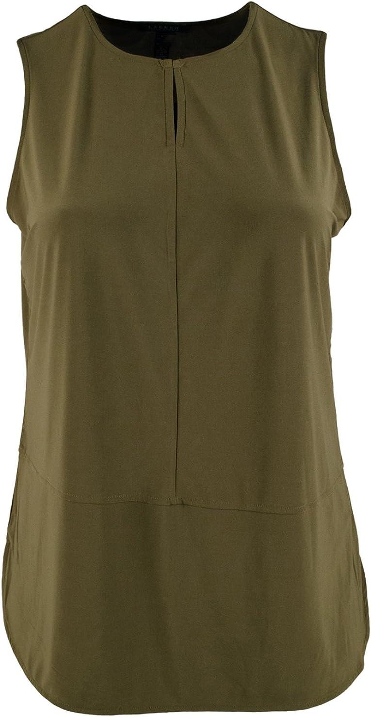 Lauren Ralph Lauren Womens Plus Matte Jersey Slash Neck Tank Top