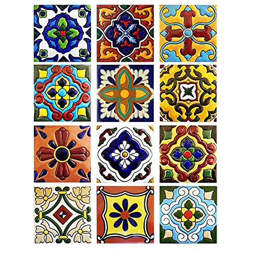 10 x 10 cm 3D Adhesivo para azulejos Tile Style Decals lámina para azulejos decoración de azulejos, azulejos de pared, azulejos de mosaico, 12 piezas para decoración de azulejos para cocina y baño
