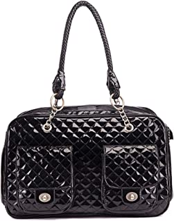 MUJING Soft-Sided Pet Carrier Purse/Black Quilted Designer Inspired Faux Patent Leather Dog & Cat Pet Carrier Tote Handbag