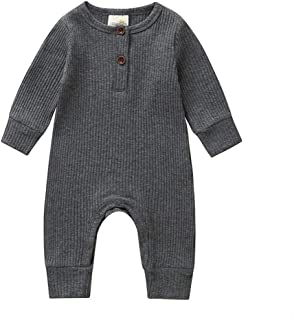 ALLAIBB Newborn Unisex Babies Long Sleeve Autumn Romper Solid Color Cotton Baby Jumpsuit