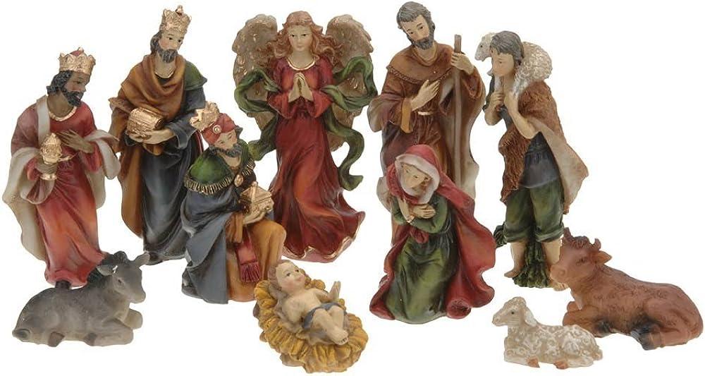 Set completo con 11 belle statuine per presepe, ideale come decorazione natalizia. in resina AAA463280