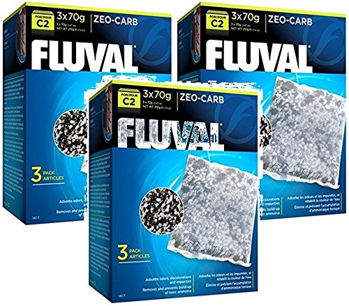Fluval C2 Zeo-Carb, 3 filtros cada uno