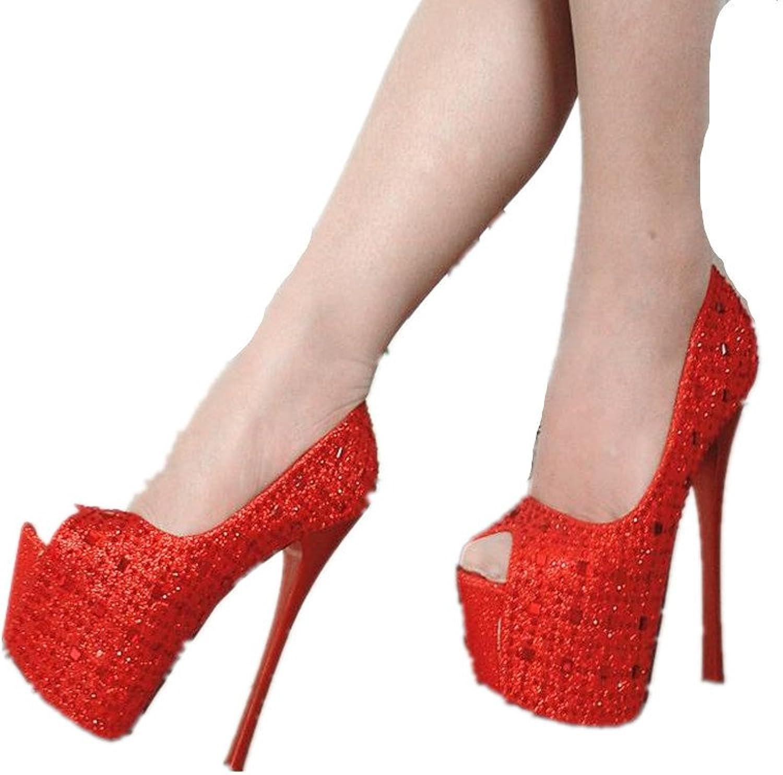 FORTUN Platform Stiletto Diamond Studded Ladies Wedding shoes Prom Dress high Heels