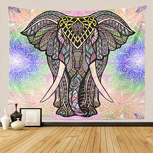 "GUORUI Mandala Tapiz de Pared Indio Bohemio Psicodélico Elefante Colorido Tapicería, Hippie Colgar en la Pared Tapices Toalla de Playa Estera de Yoga Manta Tiro (M 150x130CM (59""x51""))"