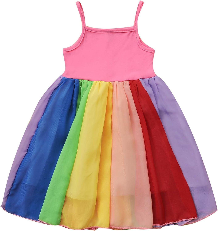 Baby Girls Rainbow Dress Toddler Princess Sleeveless Strap Halter Beach Tutu Sundress One Piece Dress Bohemian Dresses