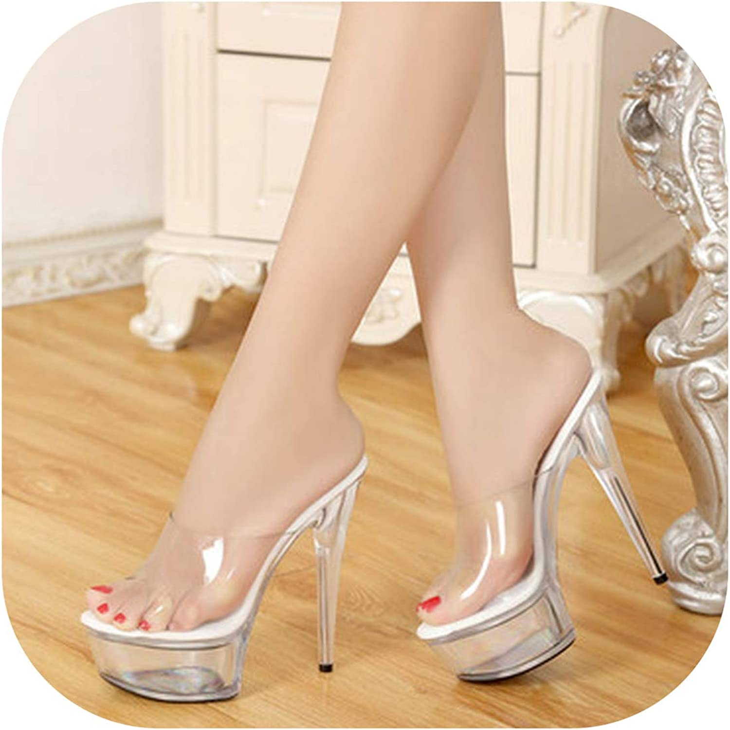 Perilla fire Female Model T Station Catwalk Sexy Crystal Transparent shoes 15CM High Heels Waterproof Head Sandals