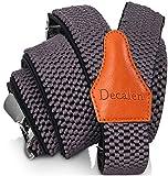 Decalen Bretelles Homme Larges Réglable Élastique Extra Fort 3 Clips en forme Y (Gris 1)