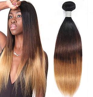 Misoun Hair Bundle Straight Hair Ombre Human Hair Bundle 3 Tone, One 14Inch Bundle Straight Hair Ombre Weave Extension(T1B/4/27, 14)