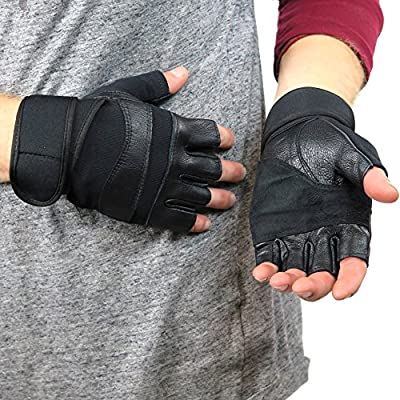 Debra Weitzner Gym Gloves Leather Workout Gloves with Adjustable Wrist Wrap for Crossfit, Weight Lifting, and Fitness Training