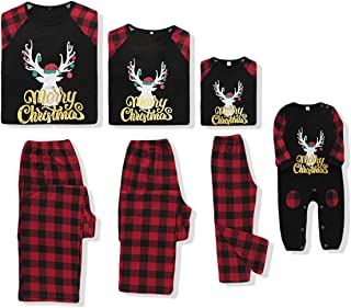 Family Matching Xmas Pajamas Infant Baby Xmas Clothes Deer Print Red Plaid Sleeping Wear Outfits