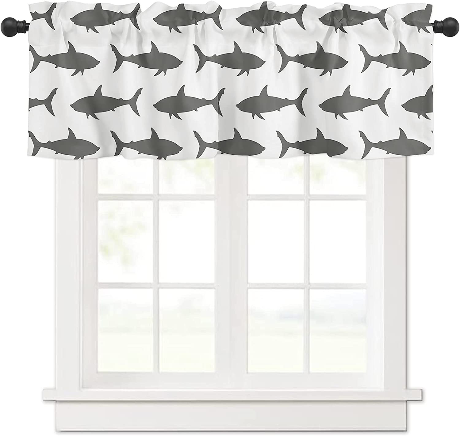 Ocean Popular brand in the world Animal Shark Silhouette Texture for Large-scale sale Windo Valances Curtain