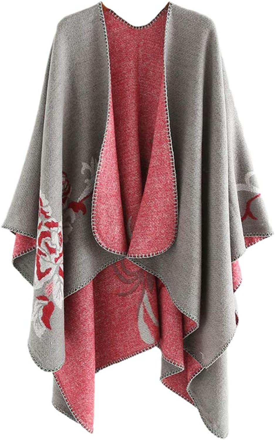 ACVIP Women's Manmade Fleece Pull On Cardigan Style Poncho Cape (grey)