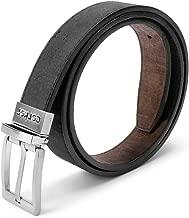 Corkor Vegan Leather Belt Cork Reversible   1 1/8 Inch (30 mm) Wide Brown Black