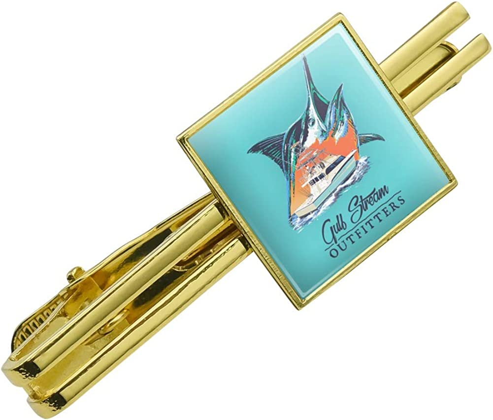 GRAPHICS & MORE Gulf Stream Marlin Ocean Game Fishing Charter Boat Square Tie Bar Clip Clasp Tack Gold Color