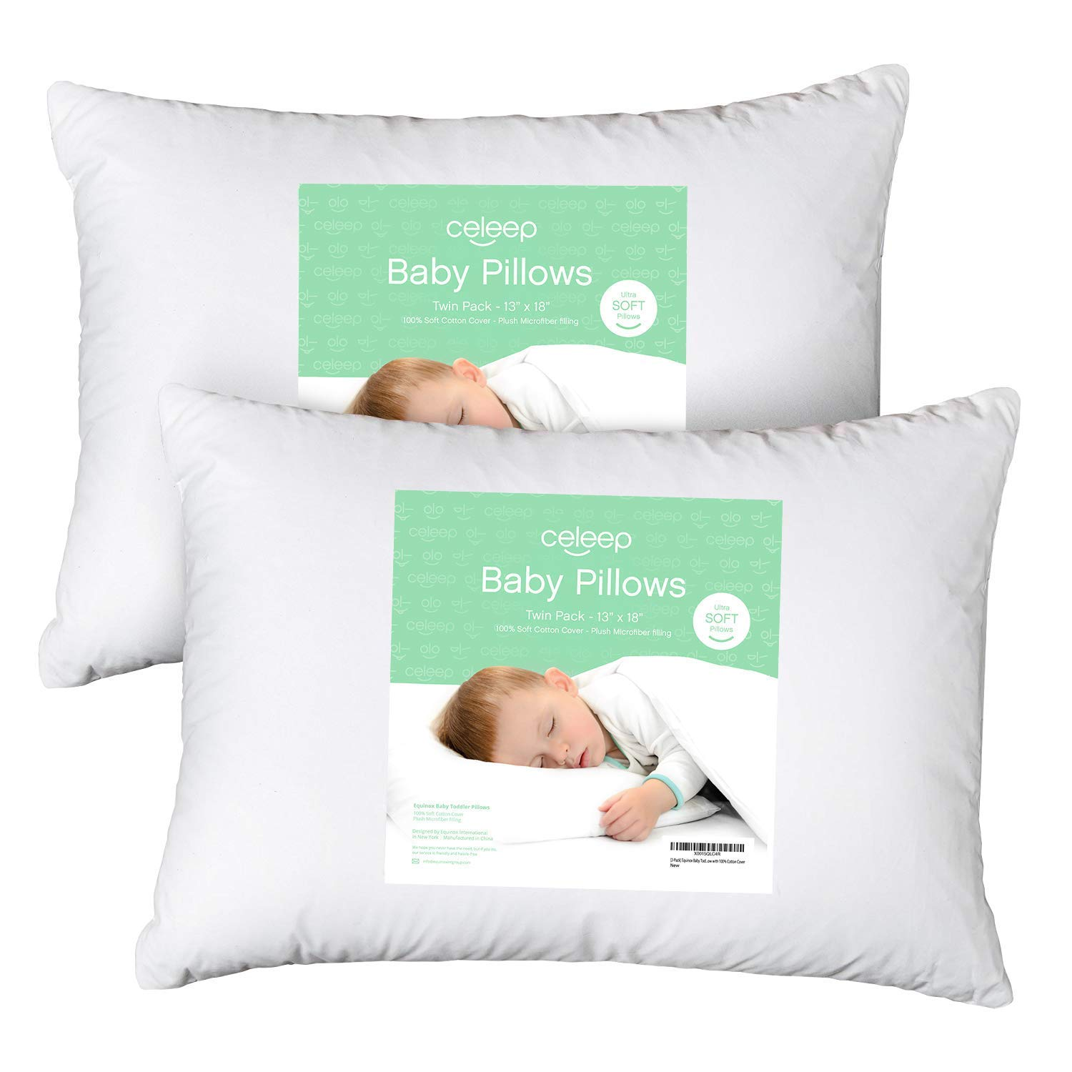 [2 Pack] Celeep Baby Toddler Pillow Set 13 x 18 Inches Organic Toddler Bedding Small Pillow Baby Pillow with 100% Natural Cotton Cover