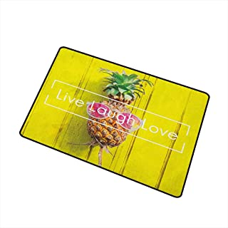 Wang Hai Chuan Live Laugh Love Front Door mat Carpet Tropical Pineapple Fruit with Sunglasses on Yellow Wood Board Joyful Print Machine Washable Door mat W19.7 x L31.5 Inch Multicolor