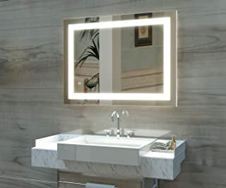 HAUSCHEN 36 x 28 inch LED Lighted Bathroom Wall Mounted Mirror with 5500K High Lumen + CRI 90 Cold White Lights and Anti Fog and Dimmable Memory Touch Button + IP44 Waterproof + Vertical & Horizontal