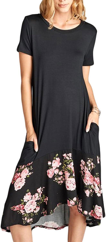 Ancapelion Women's Casual Short Sleeve T Shirt Dress Loose Patchwork Midi Dress with Pocket (Black Floral, Medium)