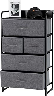 Kamiler 5-Drawer Dresser, 4-Tier Storage Organizer, Tower Unit for Bedroom, Hallway, Entryway, Closets - Sturdy Steel Frame, Wooden Top, Removable Fabric Bins