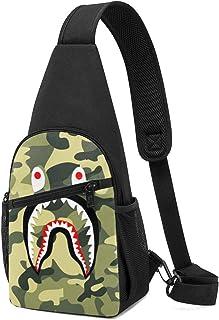 KMYUROOL Chest Pack Bape Crossbody Bag Sling Single Shoulder Chest Bag with USB Charging Port for Outdoor Hiking Sports Men & Women