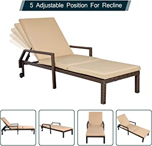 AECOJOY Adjustable Outdoor Chaise Lounge Chair Rattan Wicker Patio Lounge Chair, for Outdoor Patio Beach Pool Backyard Lounge Chairs with Cushion and Wheels,Brown