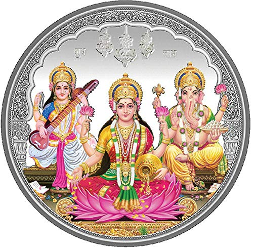 PRD CARATCAFE Colour Pure Silver Coin 999 Purity Coin 10 Grams Trimurti For Pooja 32 MM Size