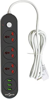 Callmate EXT 307 Power Socket 3 Outlet Power Strip with 3 USB Charging Ports Suger Protector -Black