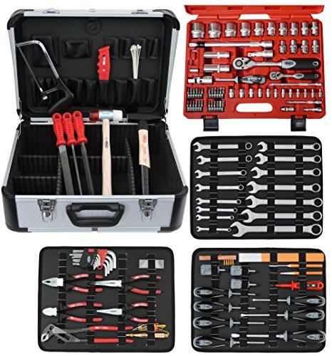 Famex Werkzeug 720-09 Mechaniker Werkzeugkoffer mit High-End Werkzeugbestückung, mit Steckschlüsselsatz