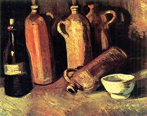 The Museum Outlet – Still Life avec quatre carafes, une bouteille et un bol de Blanc par Van Gogh, Tendue sur toile Galerie enveloppé. 147,3 x 198,1 cm