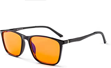 Voyance Blue Light Blocking Glasses Square Eyewear Frame Alloy Arm Anti Blue Ray Computer Game Glasses (Orange-Len)