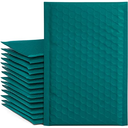"""Fu Global 4x8"""" 50 Pcs Poly Bubble Mailers #000, Self-Seal Padded Envelopes Bulk with Bubble Lined Wrap, Packaging for Small Business Supplies, Turquoise Green"""