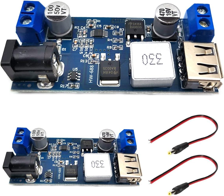 SUBALIGU 2Pcs 12v to 5v 5A Converter Step-Down Power Supply 24V / 12V to 5V 5A Voltage Regulator DC 9V-36V Step-Down to DC 5V-5.3V 3.5-6A Volt Transformer