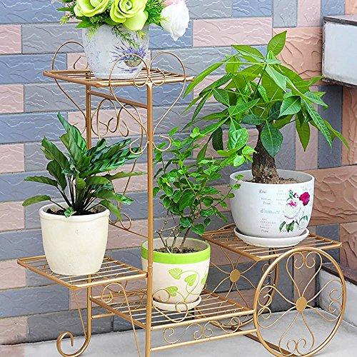 LLLXUHA Art de Fer Multi-Couche Assemblée Support de Fleurs, européen Type de Plancher Étagère à Fleurs, intérieur Plantes charnues Présentoir, Or, 26 * 76 * 69cm