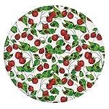 Mantel ajustable de poliéster con bordes elásticos, diseño de hojas de fresa, para mesas redondas de 60,96 cm, para eventos interiores y exteriores, color rojo, verde y blanco