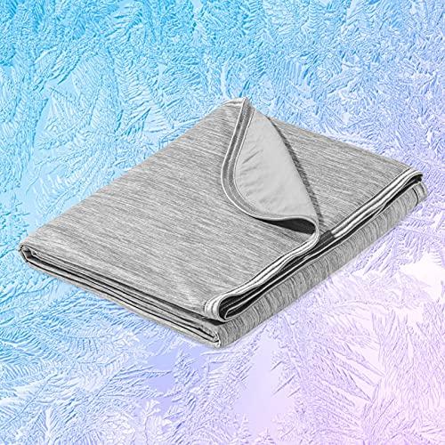 Marchpower Kühldecke 130 x 170cm, leichte Sommerdecke mit Japanische Arc-Chill Q-Max>0.43 Kühlfasern, Nimmt Körperwärme auf, 2 in 1 doppelseitig Kinderdecke Wohndecke Sofadecke Reisedecke - Grau