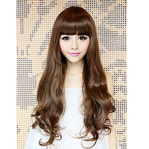 Meijunter B8W Fashion Cosplay Long Curly Synthetic Hair Cheveux Women Full Wigs Perruques M12-124 65cm