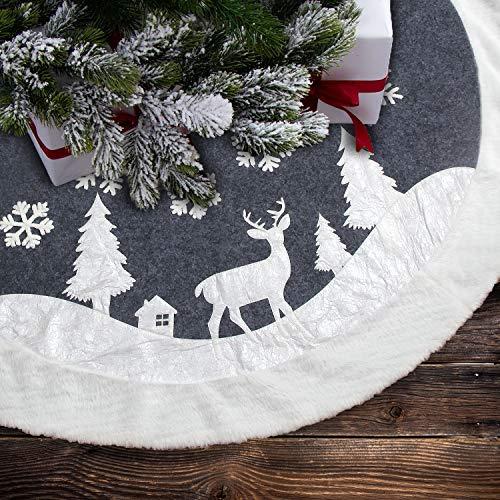 LLG Weihnachtsbaumdecke Weiß Grau,ChristbaumdeckeRund, Weihnachtsbaum Dekoration,Feiertagsdekoration,BaumdeckeWeihnachten, Tannenbaum Decke, Decke für Weihnachtsbaum 122cm Hirsch und Schneeflocke