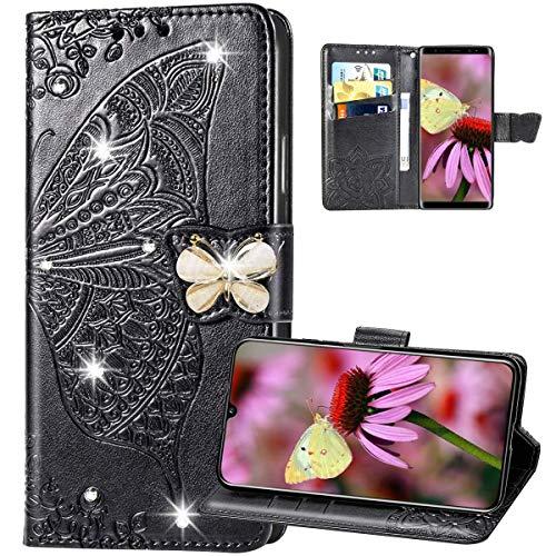 Kompatibel mit Huawei P20 Lite Hülle Leder Tasche Glitzer Bling Diamant Brieftasche Handyhülle Flip Case,3D Blumen Muster Klapphülle Schutzhülle mit Kartenfächer für Huawei P20 Lite,Schwarz