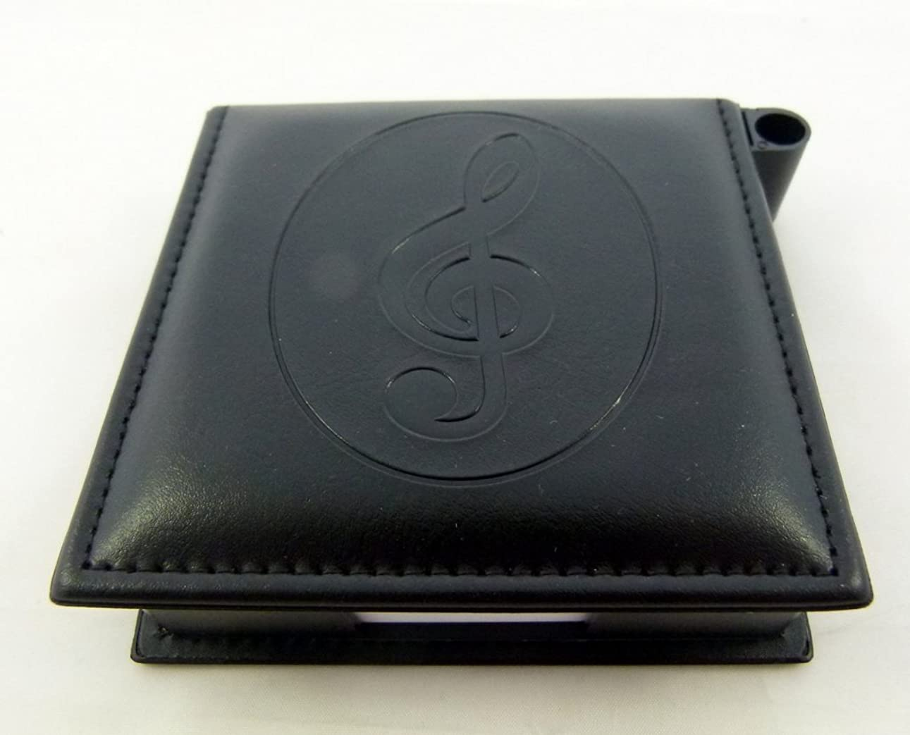 申請者息切れバイバイペンホルダー付き音楽テーマの皮革様メモパッド-スタンプト音記号デザイン