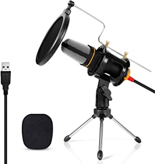 USB PC Microphone Computer Condenser Mic Plug & Play with Tripod Stand & Pop Filter for Chatting/Skype/YouTube/Recording/Gaming/Podcasting for iMac PC Laptop Desktop Windows Computer