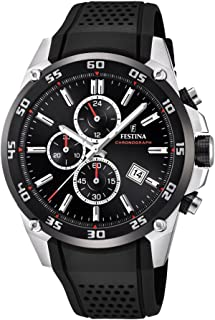 Festina 'The Originals Collection' Men's Quartz Watch with Black Dial Chronograph Display and Black Rubber Strap F20330/5