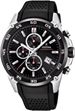 Festina `The Originals Collection` Men`s Quartz Watch with Black Dial Chronograph Display and Black Rubber Strap F20330/5