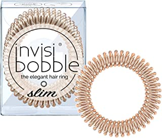invisibobble SLIM Hair Ties, Bronze Me Pretty, 3 Pack - No Kink, Strong Hold, Stylish Bracelet - Suitable for All Hair Types