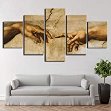 FJNS Wall Art Canvases Print 5 Piece Creation of Adam Hand of God Abstract Painting HD Print Decor Posters Wall Decor Gift,A,30×40×230×60×230×80×1