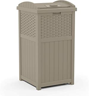 Suncast Corporation GHW1732DT Can Resin Outdoor Trash Hideaway with Lid-Use in Backyard, Deck, or Patio-Dark Taupe