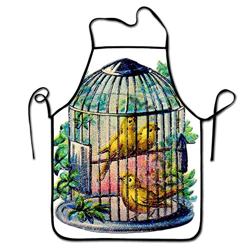 Funny Unisex Character Kitchen Bird Cage Chef Aprons,Easy Clean Adult Cooking Guide Apron,Waterproof