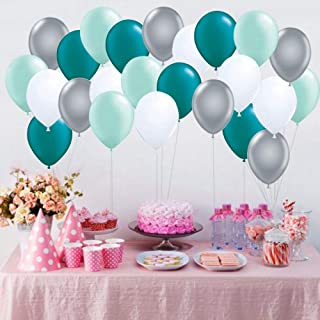 Mermaid Birthday Party Decorations 60pcs 10inch Mint Green, Silver,Teal,White,Latex Balloons for Wedding Graduation Kids Birthday Party Baby Shower Party Supplies