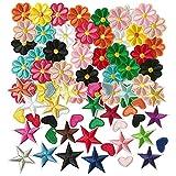 woohome 80 pz toppa termoadesiva toppe per vestiti, a forma di cuore fiori stella toppa ricamata fiore fai da te patch termoadesiva toppe da cucire applicazioni per giubbotti, vestiti