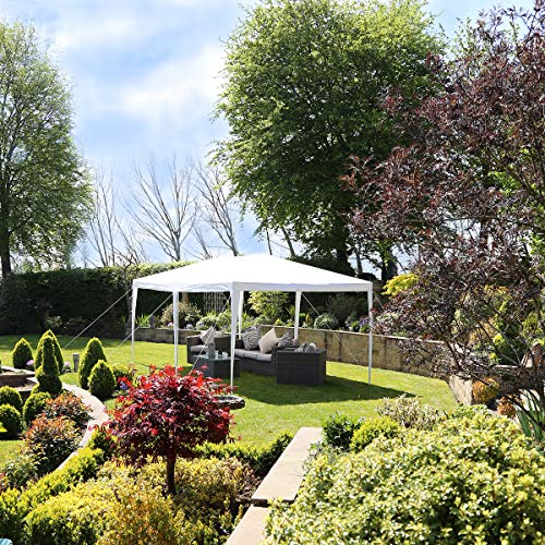 Charles Bentley 3x6m Gazebo with 5 Side Panels White with Steel Frame